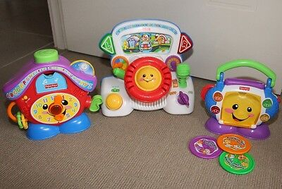 Fisher Price 3 Bulk Lot Electronic Toys, Lights Music, Clock, CD player, Driver