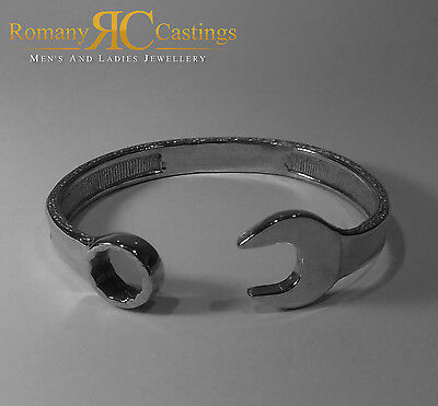 Sterling STAMPED 925 Silver Highly  Polished Very Heavy Spanner Bangle 59 grams