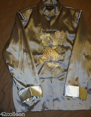 Wonderful NEW Silk Evening Smoking Jacket w Dragons XXXL Gray w Silver Trim