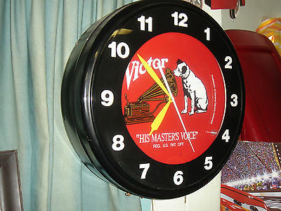 his masters voice victor large 20 inch neon clock works mancave bar room
