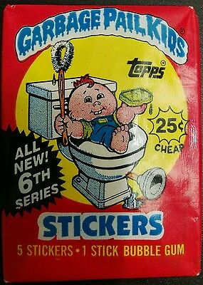 VINTAGE GARBAGE PAIL KIDS / GANG 6th 1986 UNOPENED WAX PACK TRADING CARDS RARE!