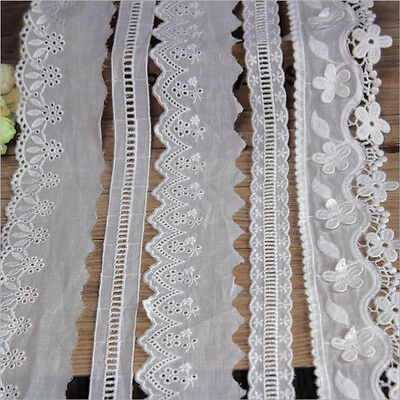 1 Yard Floral Lace Edge Trim Wedding Bridal Sewing Cotton Embroidered Craft