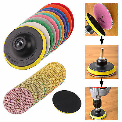 "11pcs Diamond Polishing Pads 4"" Grinding Disc For Granite Marble Concrete Stone"