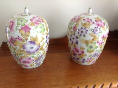 A Pair Of Chinese Nanjing Road Hand Painted Porcelain Ginger Jars