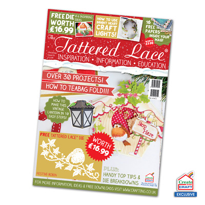 Tattered Lace CHRISTMAS 2016 Magazine Create & Craft EXCLUSIVE Festive Robin Die