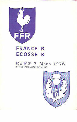 FRANCE B v SCOTLAND B 1976 RUGBY PROGRAMME at REIMS