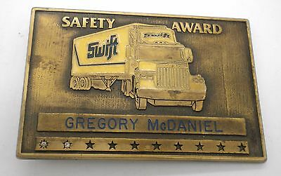Vintage Swift Safety Award Company Brass Belt Buckle Made In Usa