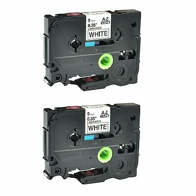 2PK TZ-221 TZe-221 Black on White Label Tape For Brother P-Touch PT-1230PC 9mm