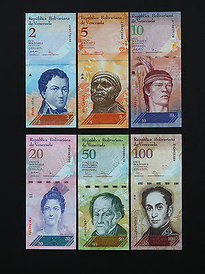 World Venezuela Banknotes - Complete Set Of 6 Brilliant Notes  * Best  Unc *
