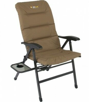 NEW Oztrail  Emperor 8 Position Chair - in BEIGE - Camping Chairs & Beds