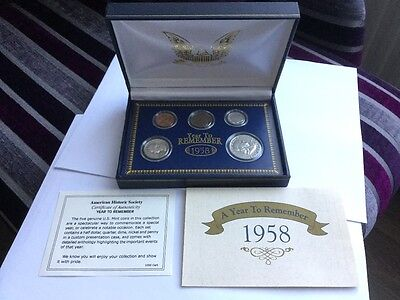 Coin Collection - A YEAR TO REMEMBER 1958 American Historic Society US COIN SET