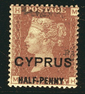 CYPRUS-1881 ½d on 1d Red Plate 218.  A mounted mint example Sg 9