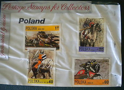 Poland jousting horses stamps - in original 1970s packet
