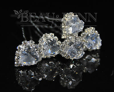 Set Of 5 Clear Crystal Rhinestone Heart Hair Pins Clips Accessories