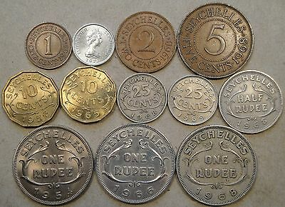 Seychelles 12 Coins 1953-1972 Cent-Rupee MidGrade-BU As Pictured