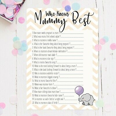 Who Knows Mummy Best? - Baby Shower Game, 6-21 Party Players,Unisex Boy Girl mum