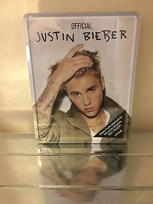Official Justin Bieber Tin Of 3 Books Stickers Puzzles Posters New & Sealed