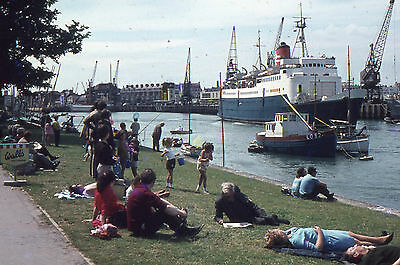 35mm SLIDES :  MARITIME : WEYMOUTH DOCKS WITH FERRY & LARGE FREIGHTERS 1960's