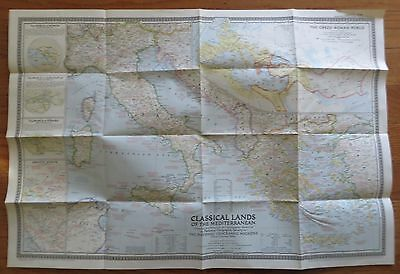 Vintage National Geographic Map 1949 Classical Lands of the Mediterranean