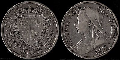 narkypoon's GOOD MIDDLE GRADE 1893 Victoria 925 fine STERLING SILVER Half-Crown