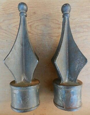 "Antique 19th Century Pair Unique Cast Iron Finials - Distinctive - 10"" Tall"