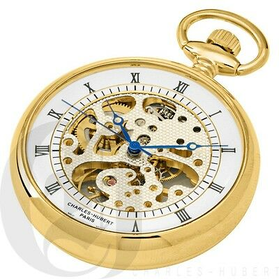 Charles-Hubert Gold Polished Finish Open Face Mechanical Pocket Watch - #3802