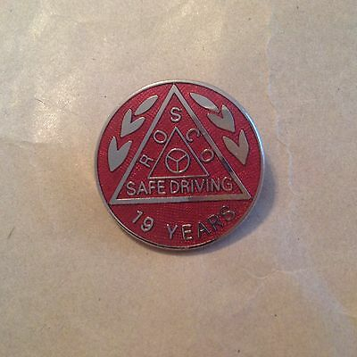 ROSCO safe driving badge 19 years