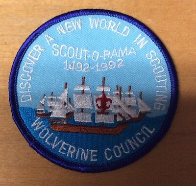 BOY SCOUTS WOLVERINE COUNCIL 1492-1992 SCOUT-O-RAMA PATCH  NEW