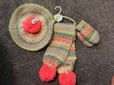Next Hat Mitten & Scarf Set Knitted Girls Age 1-2 Years Brand New BNWT