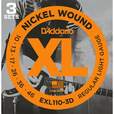 Daddario EXL110-3D Nickel Electric Guitar Strings Light 10-46 3 Sets , New!
