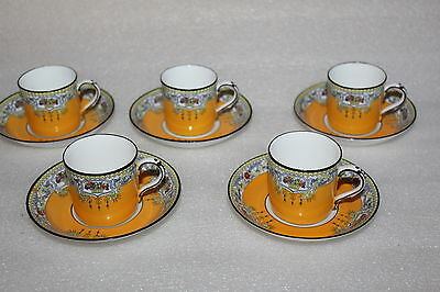 Five Adderleys China Art Deco Coffee Cans & Saucers Lee Pattern