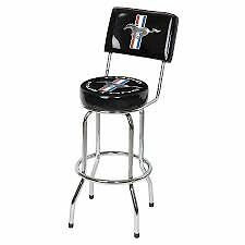 New Mustang Bar Stool Chair Black With Running Pony Frd-42203