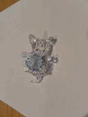Genuine Swarovsky Crystal Cut Glass Lying Cat And Ball Figure Nr 000 012