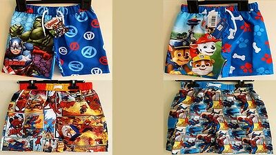 Boys Character Tv Swimwear Swim Shorts Trunks Marvel Spider Paw Patrol Avengers