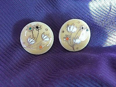 Gerte Hacker Gorgeaous Antique Art Deco Sterling Silver Gold Porcelain Earrings