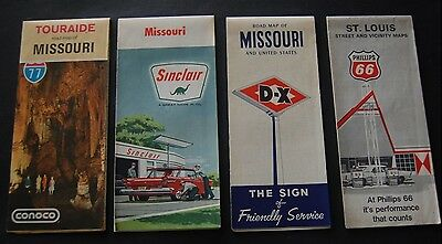 Lot of 8 Vintage Missouri Gas Station Road Maps Sinclair / DX / Gulf - Route 66