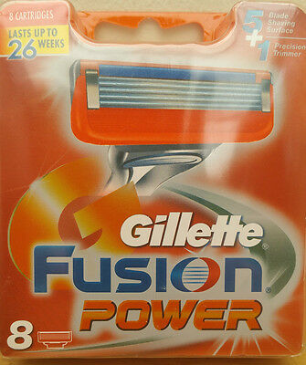 Gillette Fusion Power blades - Pack of 8 Genuine UK Stock FREE POSTAGE