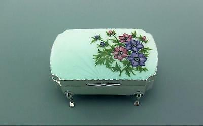Excellent Antique Solid  Sterling Silver Guilloche Enamel Jewellery  Box 1928