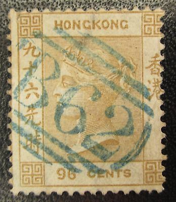 Hong Kong 96c olive-bistre neatly cancelled, fresh color, SG18 cat GBP750 faults