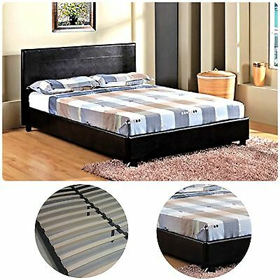 Bed Frame Double Size Faux Black Leather With Slats Bedroom Furniture Headboard