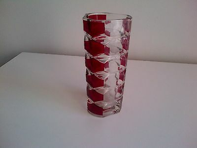 Small Glass Vase Granberry And Clear Glass Coloured
