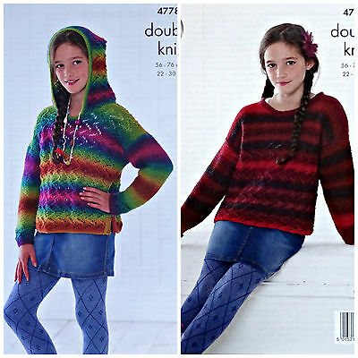 KNITTING PATTERN Girls Bobble Jumper /& Cardigan with Pockets Riot DK 4777