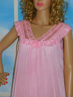 L Vintage Free Bust Gown Ruffled Hemline lace Detail Pink Nylon Lingerie
