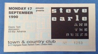 STEVE EARLE - CONCERT TICKET - 17th SEPTEMBER 1990 - TOWN & COUNTRY CLUB, LONDON