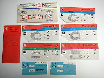 Lot of 1976 Montreal Olympics ticket stubs, holders - different sports
