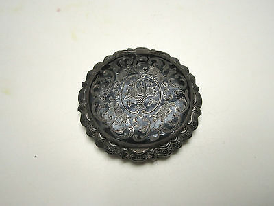 Vintage / Antique 935 Silver Compact, Black Enamel, Likely from Austria