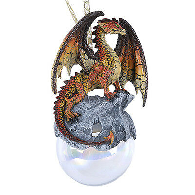 Hyperion Red Orange Dragon Glass Ball Ornament by Ruth Thompson Tree Decor