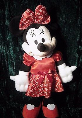"""Disney Mini Mouse 23"""" Plush Free Standing Weighted Legs Valentine Dress Hearts"""