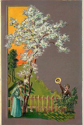 Victorian Seasons Serie~Rectangle Panorama~Couple In Spring~Blossoms~EMB Germany