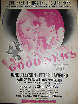 """The Best Things In Life Are Free (1927) """"Good News"""" Sheet Music Allyson, Lawford"""